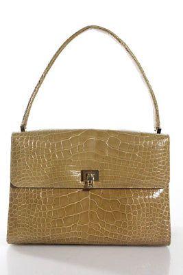df452db052 Lambertson Truex Yellow Crocodile Gold Tone Turn Lock Satchel Handbag