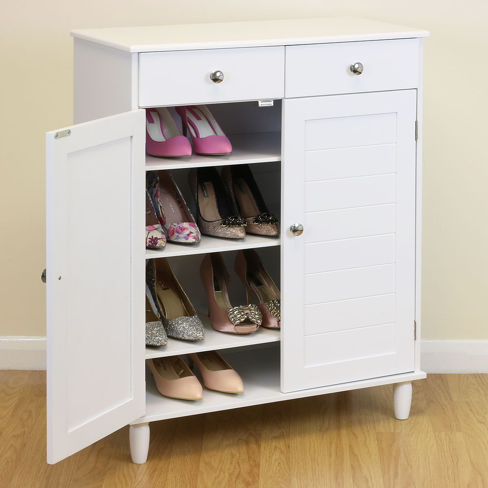 4 Tier Shoe Storage Cabinet White Painted Mdf Construction 2 Door Cupboard With 3 Internal Adjustable Shelves Shoe Storage Cabinet Shoe Storage Shoe Cabinet
