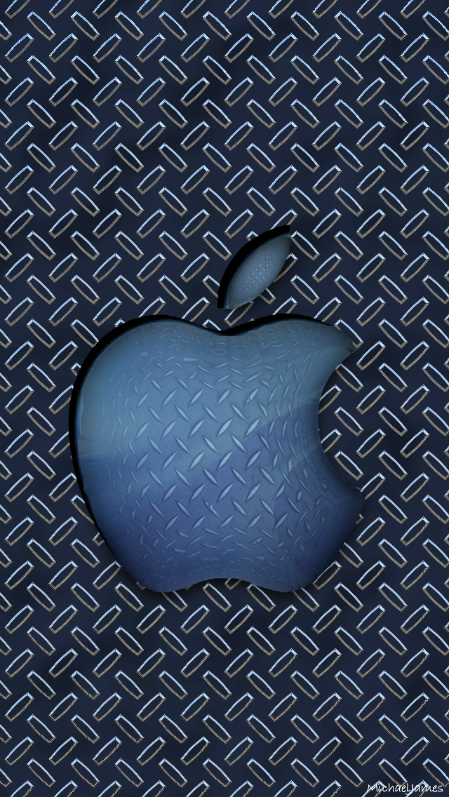 Download Blue Diamond Plate Apple 640 X 1136 Wallpapers
