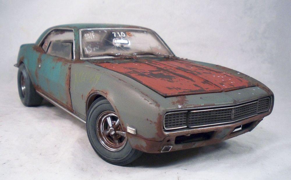 1968 Chevy Camaro Weathered Barn Find Drag Car Rat Rod 1 18 LANE Diecast OOAK