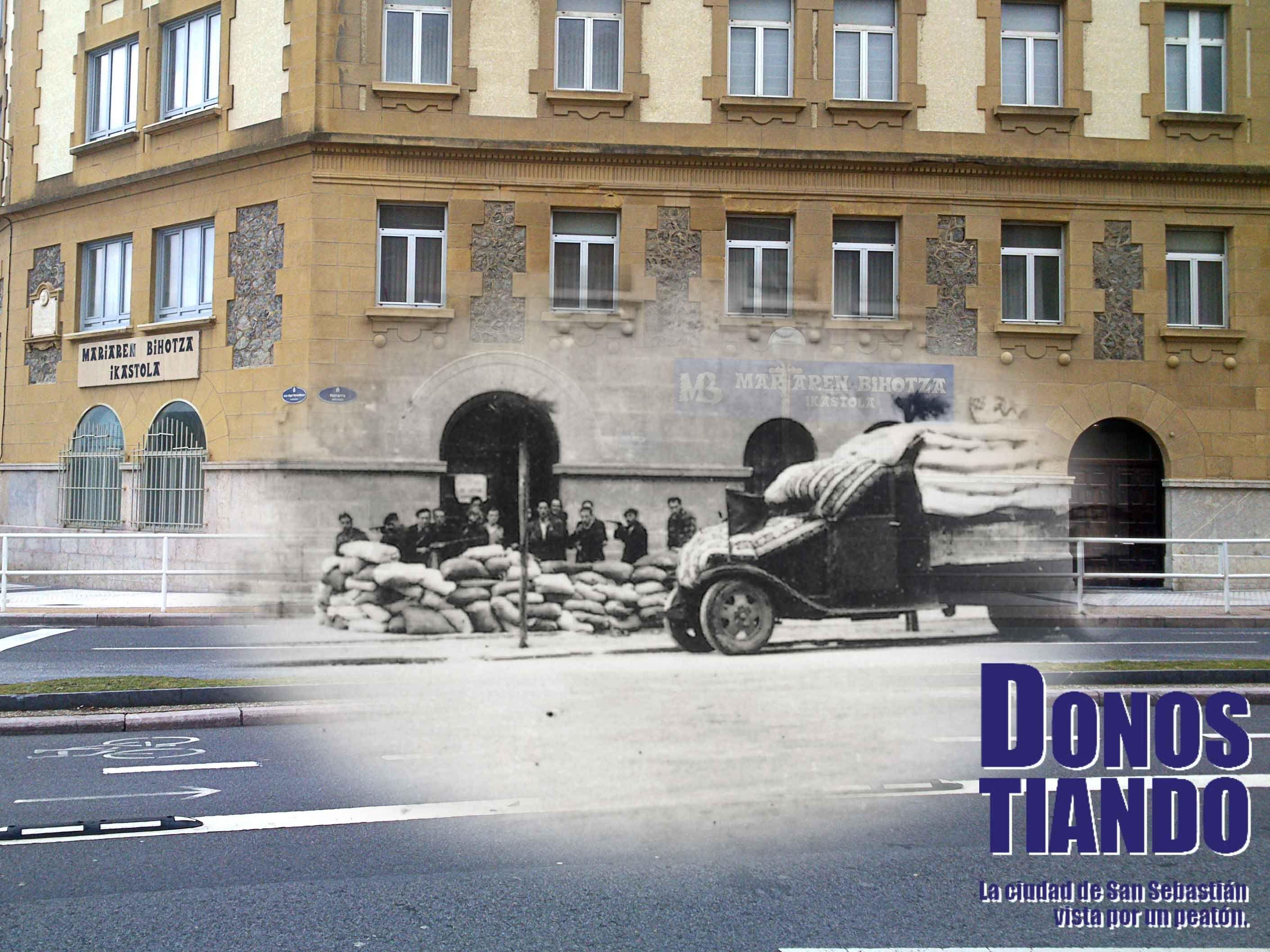 Trinchera ante la Iglesia del Sagrado Corazón de María, en el barrio de Gros de Donostia-San Sebastián. Entre Julio y Septiembre de 1936 fue usada como checa anarquista.