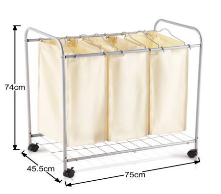 3 Compartment Laundry Basket Trolley Online Shopping Shopping