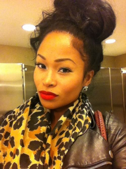 Messy bun with china bang do it yourself hair tips pinterest do it yourself hair tips pinterest beautiful black women red lipsticks and black girls solutioingenieria Choice Image