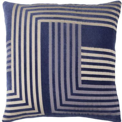 "Corrigan Studio Sandrine Cotton Throw Pillow Size: 20"" H x 20"" W x 4"" D, Color: Navy / Beige / Gray"