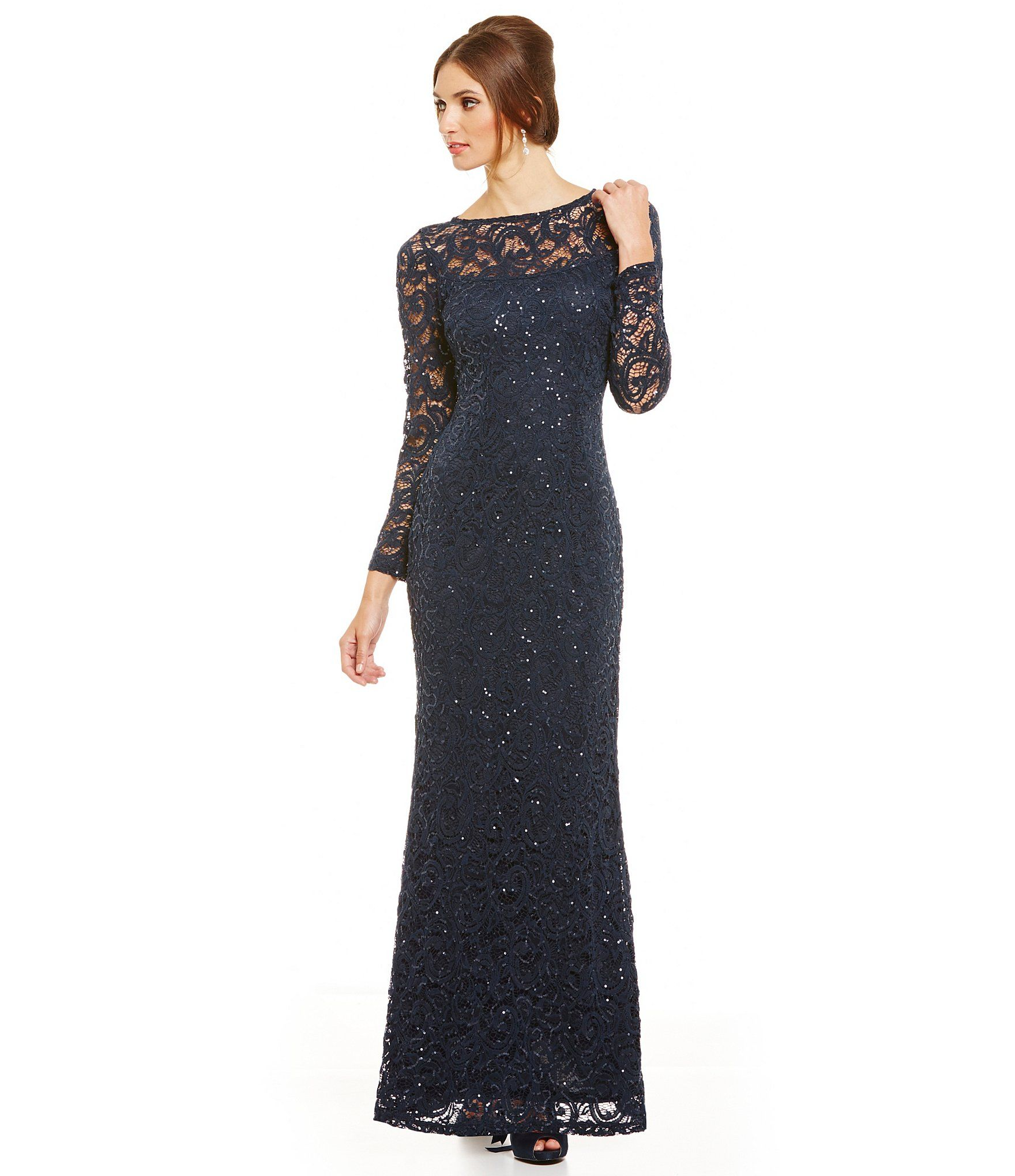 Marina Sequined Lace Long Sleeve Illusion Gown Dillards Illusions