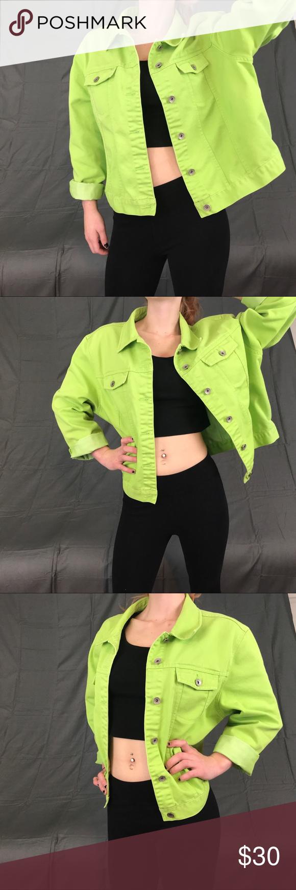 Retro Vintage Lime Green Neon Denim Jacket Yellow Denim Denim Jacket Jackets [ 1740 x 580 Pixel ]
