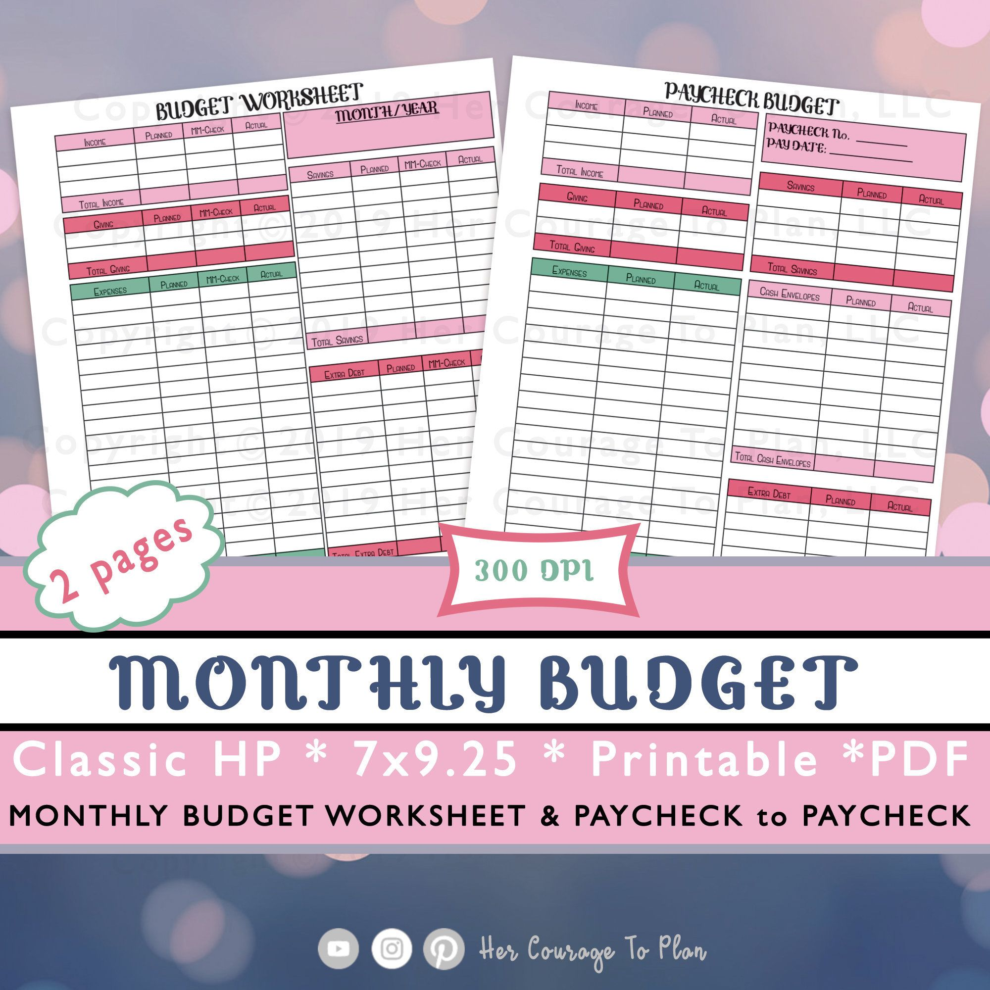 Budget Set Monthly Budget Amp Paycheck Paycheck Colorful