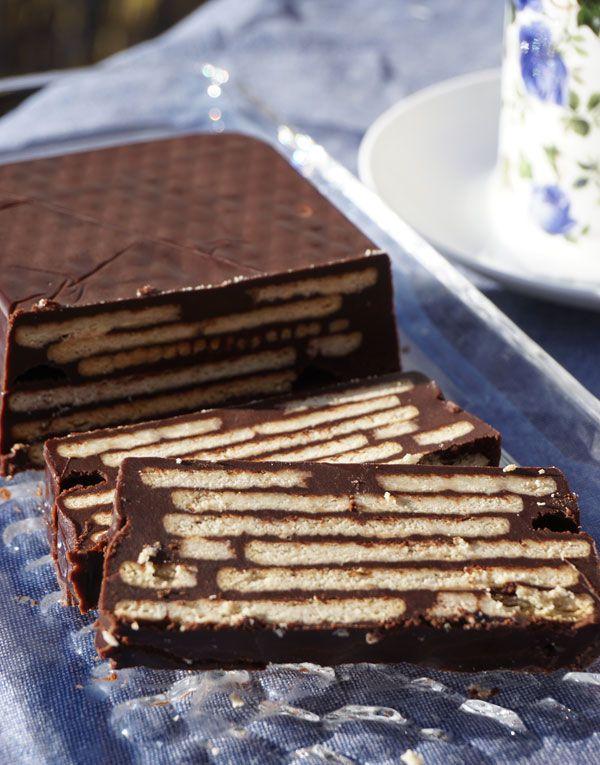 Kalter Hund, Kuchen mit Butterkeksen und Schokolade