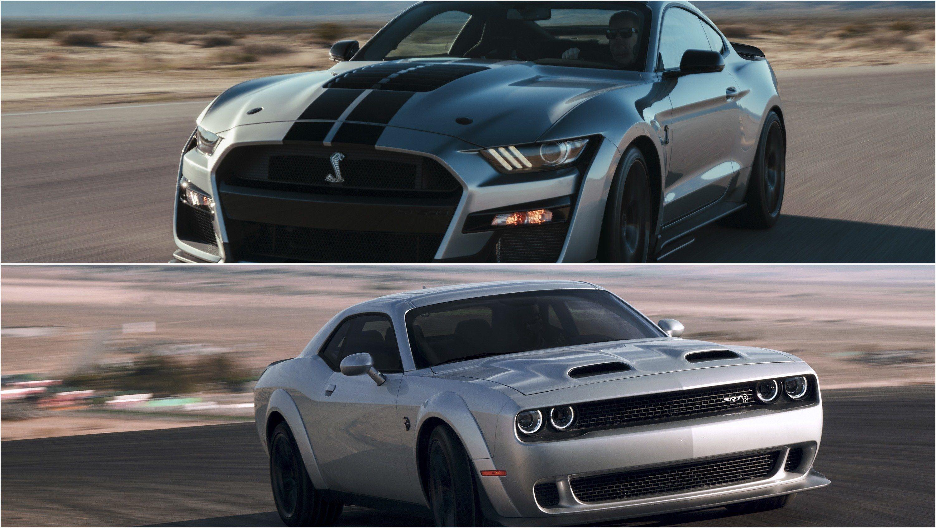2020 Ford Mustang Shelby Gt500 Vs 2019 Dodge Challenger Srt Redeye Shelby Gt500 Mustang Gt500 Ford Mustang Shelby Gt500