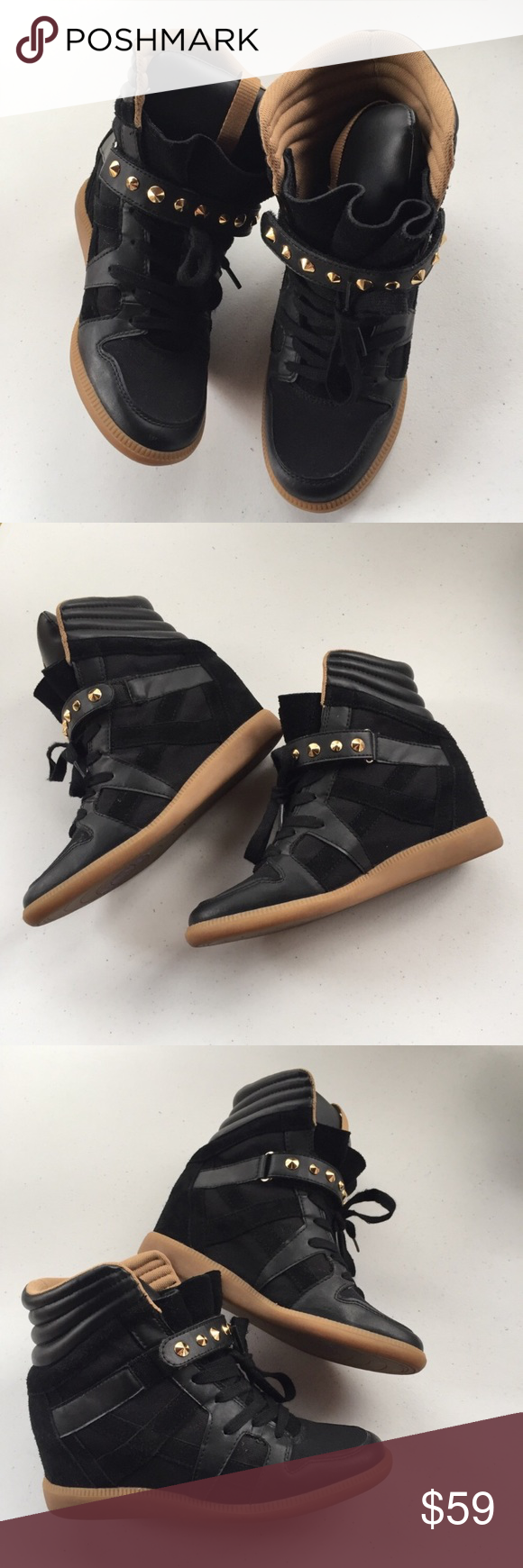 72bdbef8f4a Zara Trafaluc Hi-Top Studded Suede Wedge Sneakers Zara Trafaluc (TRF) wedge  sneakers