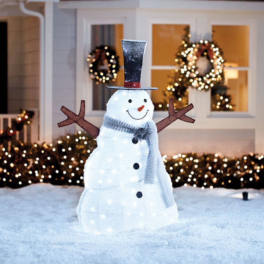 Holiday Living Snowman Sculpture With White Led Lights Lowes Com White Led Lights Led Lights Outdoor Christmas Decorations