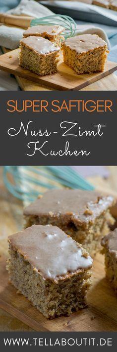 Nusskuchen schmeckt besonders gut, wenn er luftig leicht gebacken ist und ein leckeres Topping aus Zimtguss gekommt - mit vielen Nüssen, Eischnee und Zimt. Tolles Rezept zum schnellen Backen von saftigem Nusskuchen