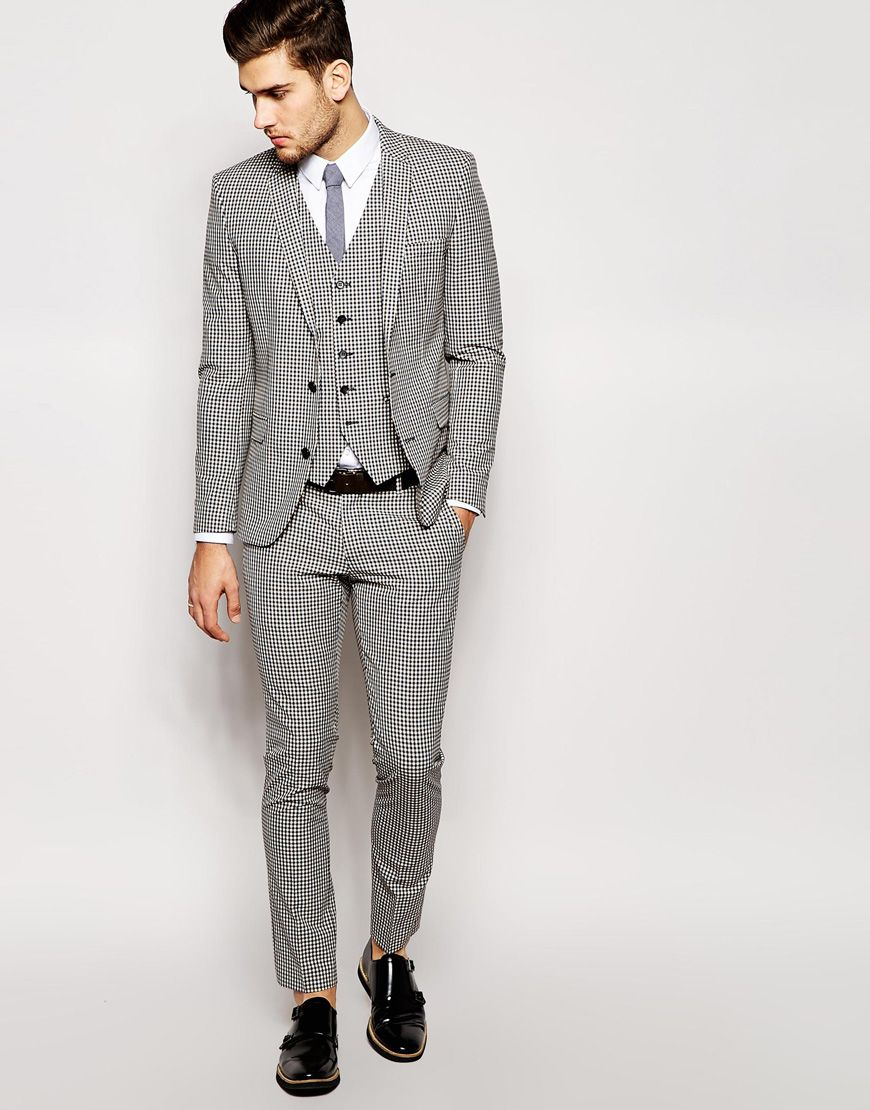 Selected Puppytooth Suit in Skinny Fit