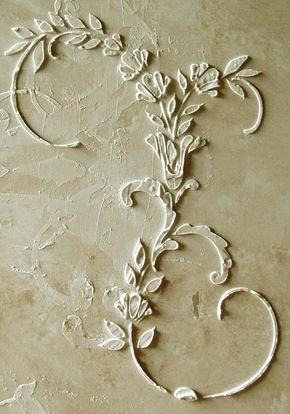 Stencil wall stencil raised plaster stencil dresden relief wall stencil painting stencil - Schablone wandmalerei ...