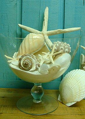 Simply White Silky Home Decor Sand, Seashell and Coconut Candle Kit For Pedestal Bowl. $55.00, via Etsy.