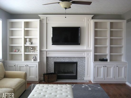 Before After Built Ins With Tv In One Bookcase And Not Above Fireplace By Marion Diy