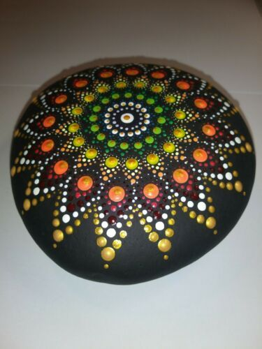 Hand Painted multi colored signed and sealed Dot Mandala ...