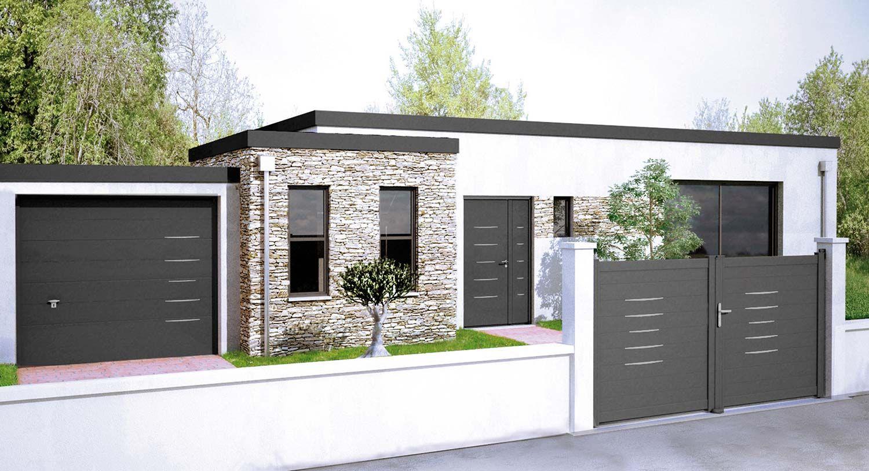 8df30d9a94b341 Portail en aluminium Alinéa assorti aux portes d entrée Bel M et aux portes  de garage Novoferm, avec une baguette décoration « Gris Déco Bel M ».