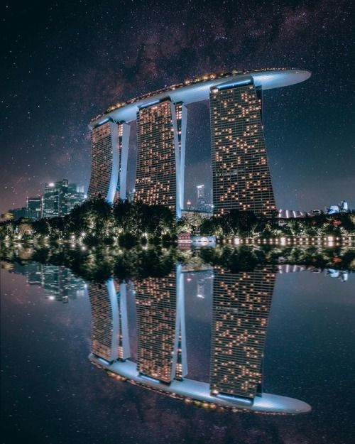 Starry night at Marina Bay Sands  Singapore. Photo by...
