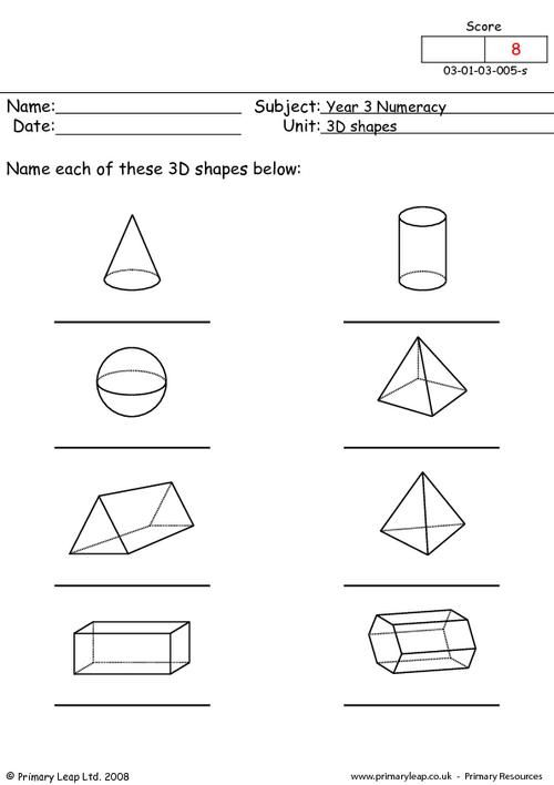 This worksheet is a b/w resource. Children name the 3d shapes. | 3d ...