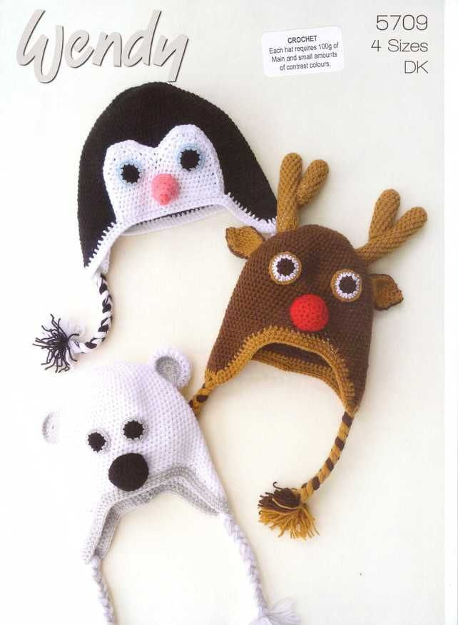 CROCHET PATTERN WENDY 5709 CROCHET ANIMAL HATS PENGUIN, REINDEER ...
