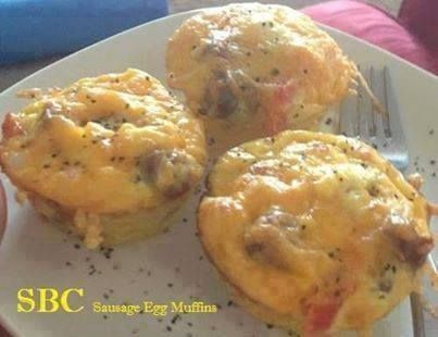 Photo: Sausage Egg Muffins   **Low Carb Recipe**   Ingredients:  * 1/2 pound ground pork sausage  * 12 eggs, beaten  * 1/2 (4 ounce) can chopped green chile peppers, drained  * 1 small onion, chopped  * 1 teaspoon garlic powder  * salt and pepper to taste  Directions  1. Preheat oven to 350 degrees F (175 degrees C). Lightly grease 12 muffin cups.  2. Place sausage in a large, deep skillet. Cook over medium high heat until evenly brown. Drain and set aside.  3. In a large bowl, combine eggs…