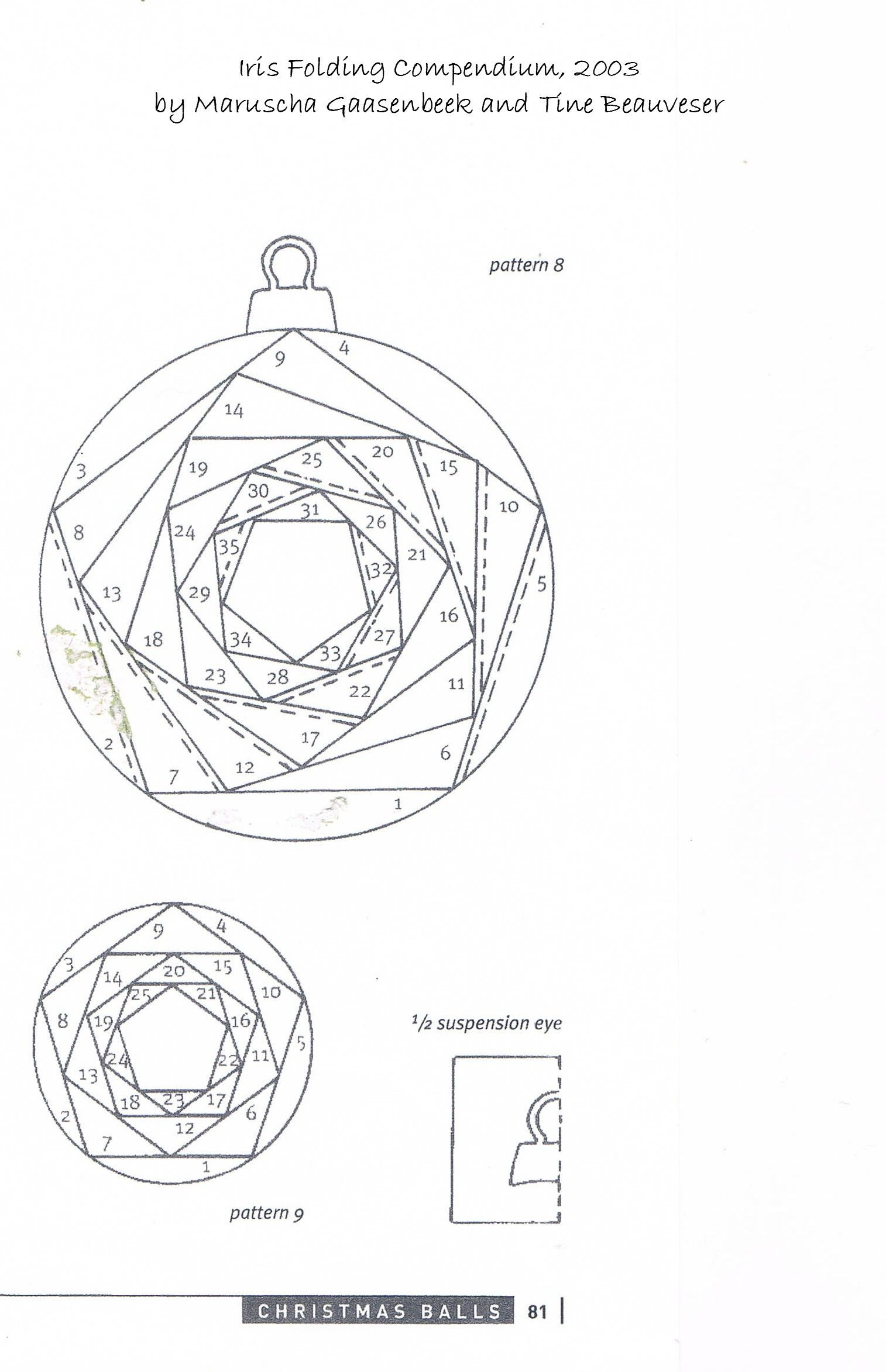 Folded fabric christmas tree pattern - Iris Folding Patterns Free Printables Made Using A Basic Iris Folded Circle