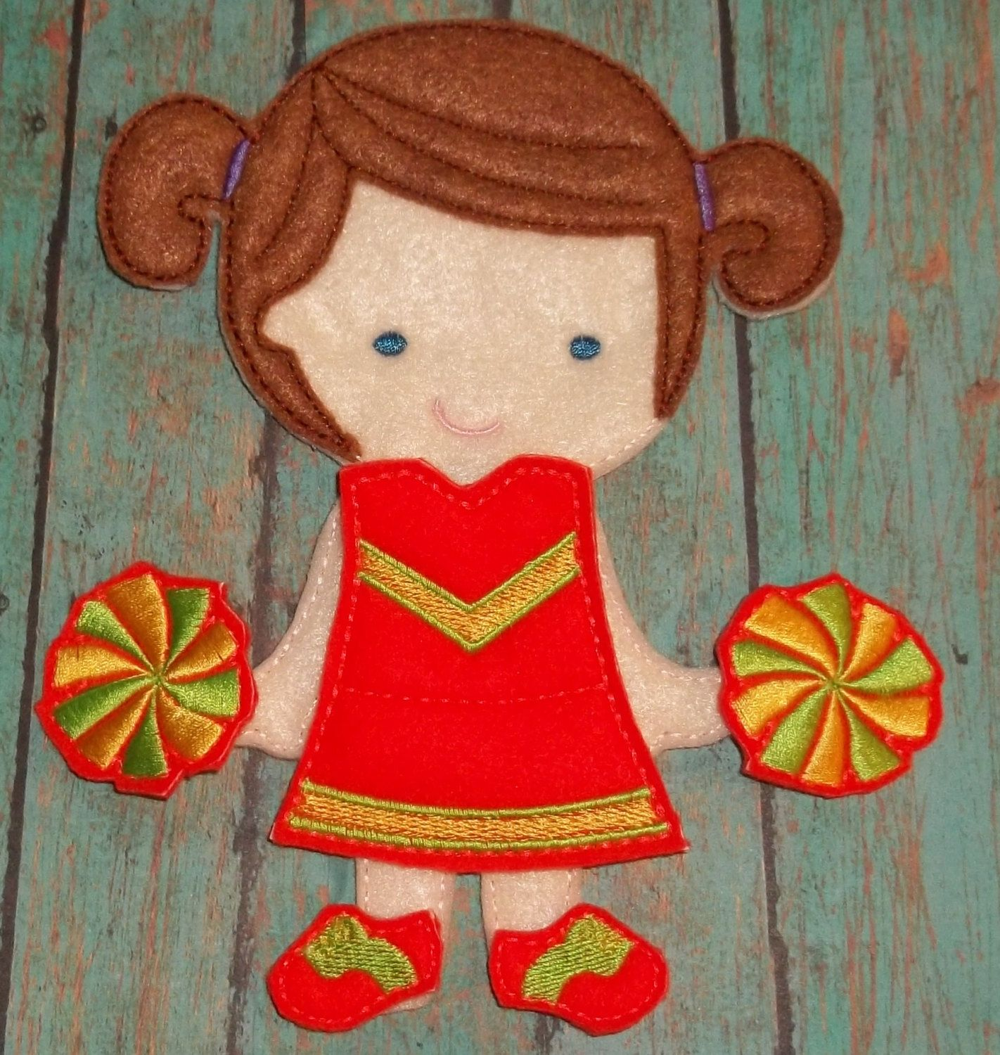 """Cheerleader Dress Up Outfit w pompoms sneakers from my """"Unpaper Felt Dolls Share"""" collection Listing for doll clothes outfit only fits girls by cabincraftycreations on Etsy"""