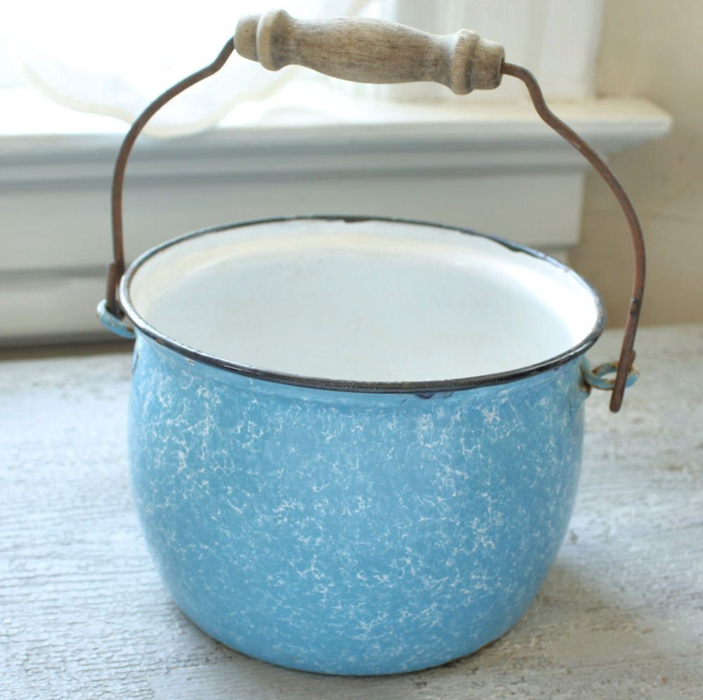 Antique Blue and White Enamelware Pail with Handle.