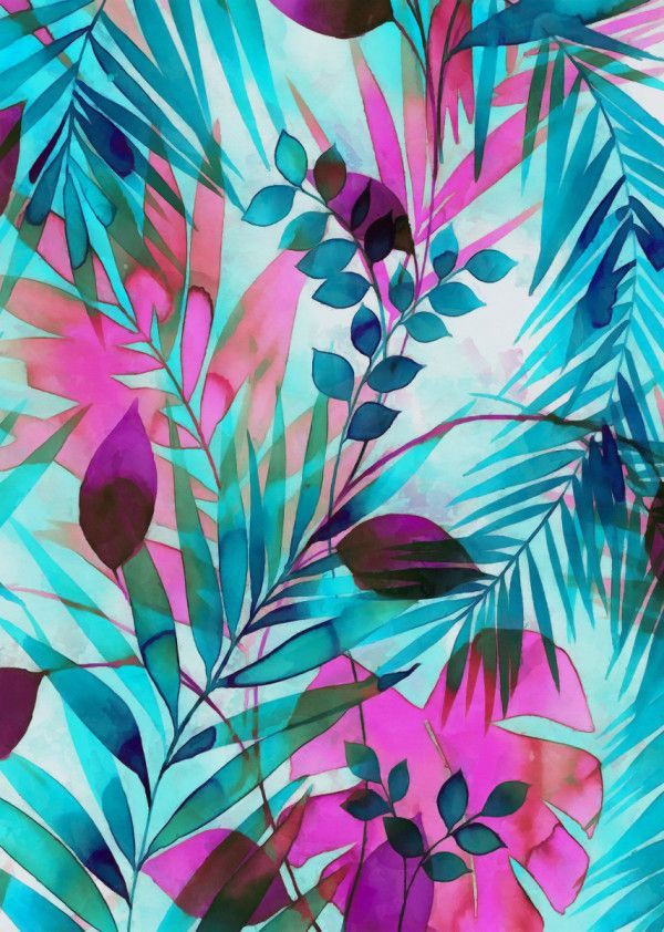 Displate Poster Colorful tropical leaves colorful #tropics #leaves #palms #exotics #nature #pink #teal #blue #monstera #tropicalpattern