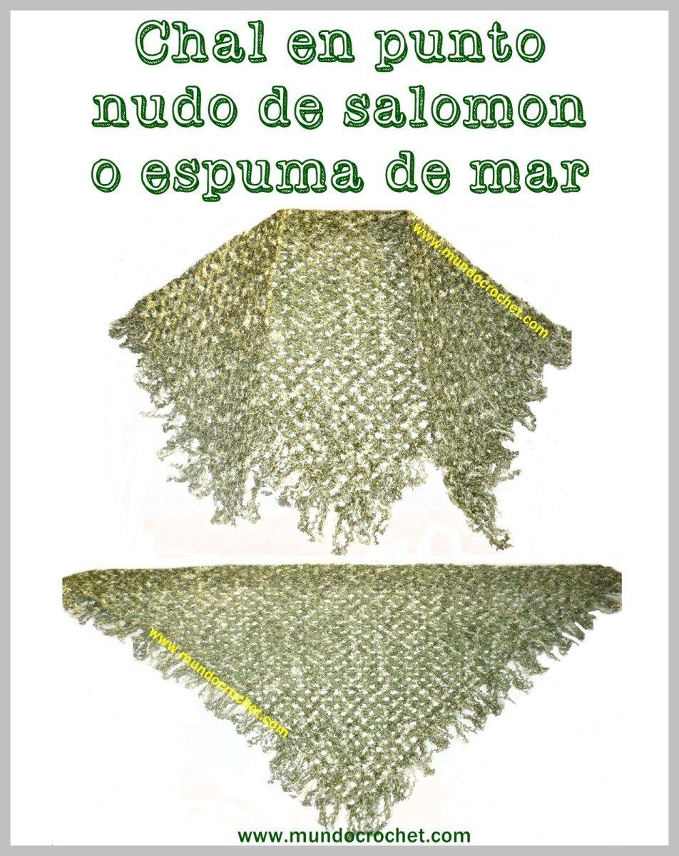 Patrón: Chal triangular en punto nudo de salomón o espuma de mar a ...