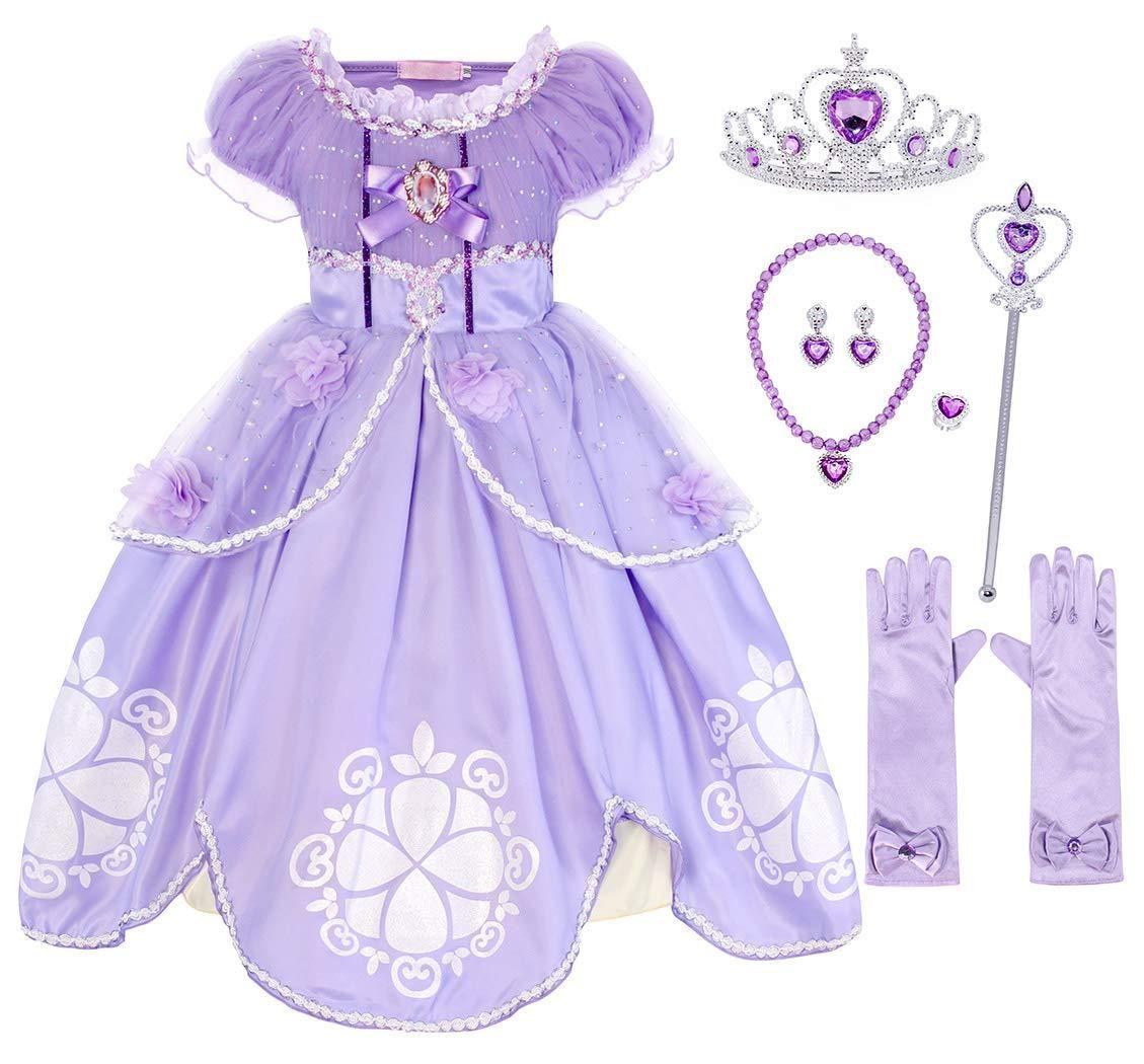 AmzBarley Princess Jasmine Costume Kids Girls Party Dress Aladdin Arabian Princess Dress up Clothes Halloween Cosplay