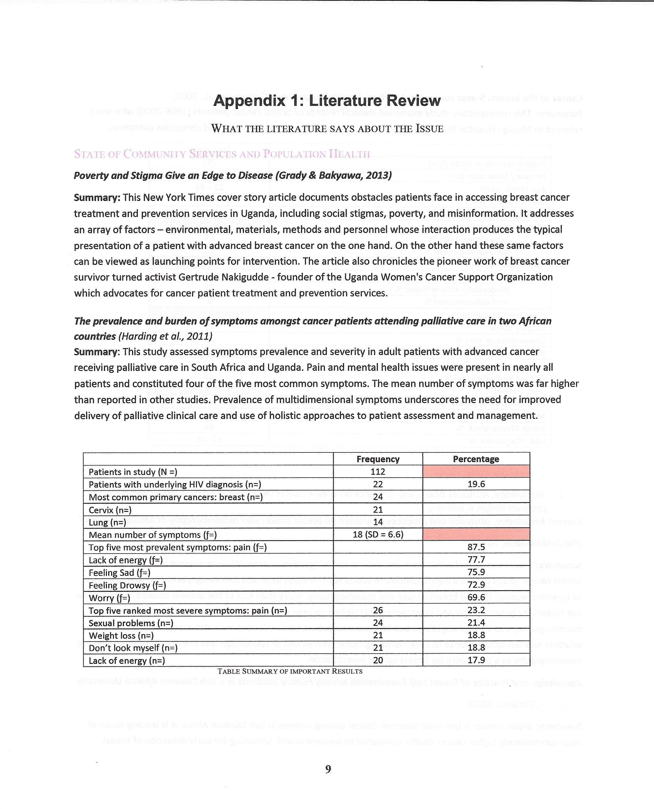 appendix literature