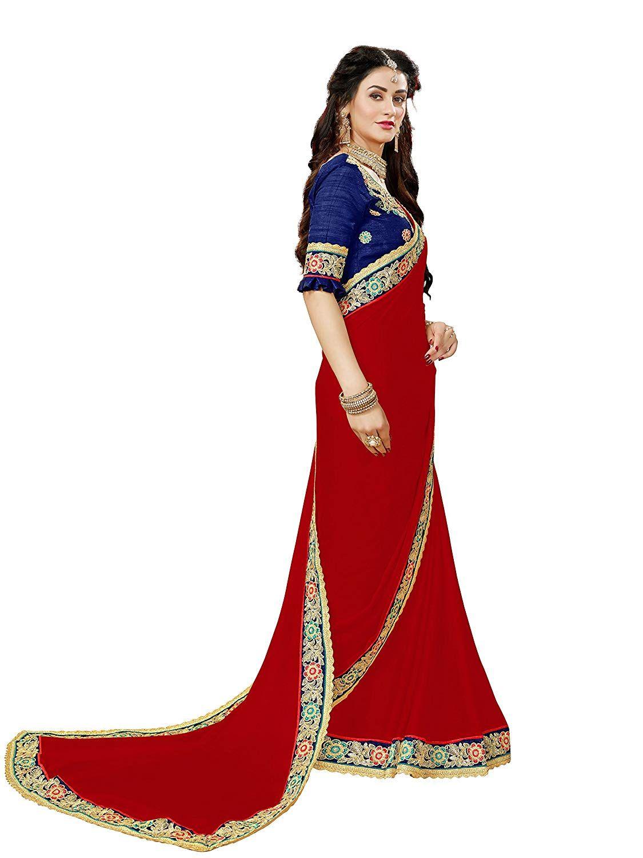 d4a73c63aeb361 Manohari Designer Maroon Georgette Saree: Amazon.in: Clothing &  Accessories. Manohari Embroidery Blue ...