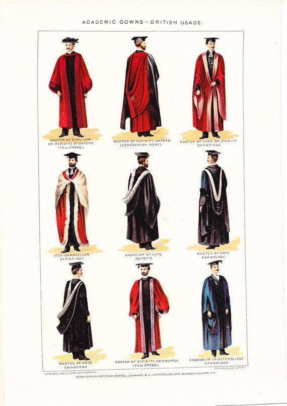 1909 Fashion Print British Academic Gown Hood Vintage Antique Home Decor Book Plate Art Illustration For Fram Academic Gown Fashion Prints Academic Regalia