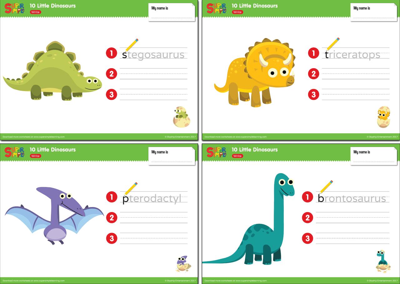 10 Little Dinosaurs Worksheets Write Super Simple Dinosaur Worksheets Super Simple Songs Dinosaur [ 908 x 1280 Pixel ]