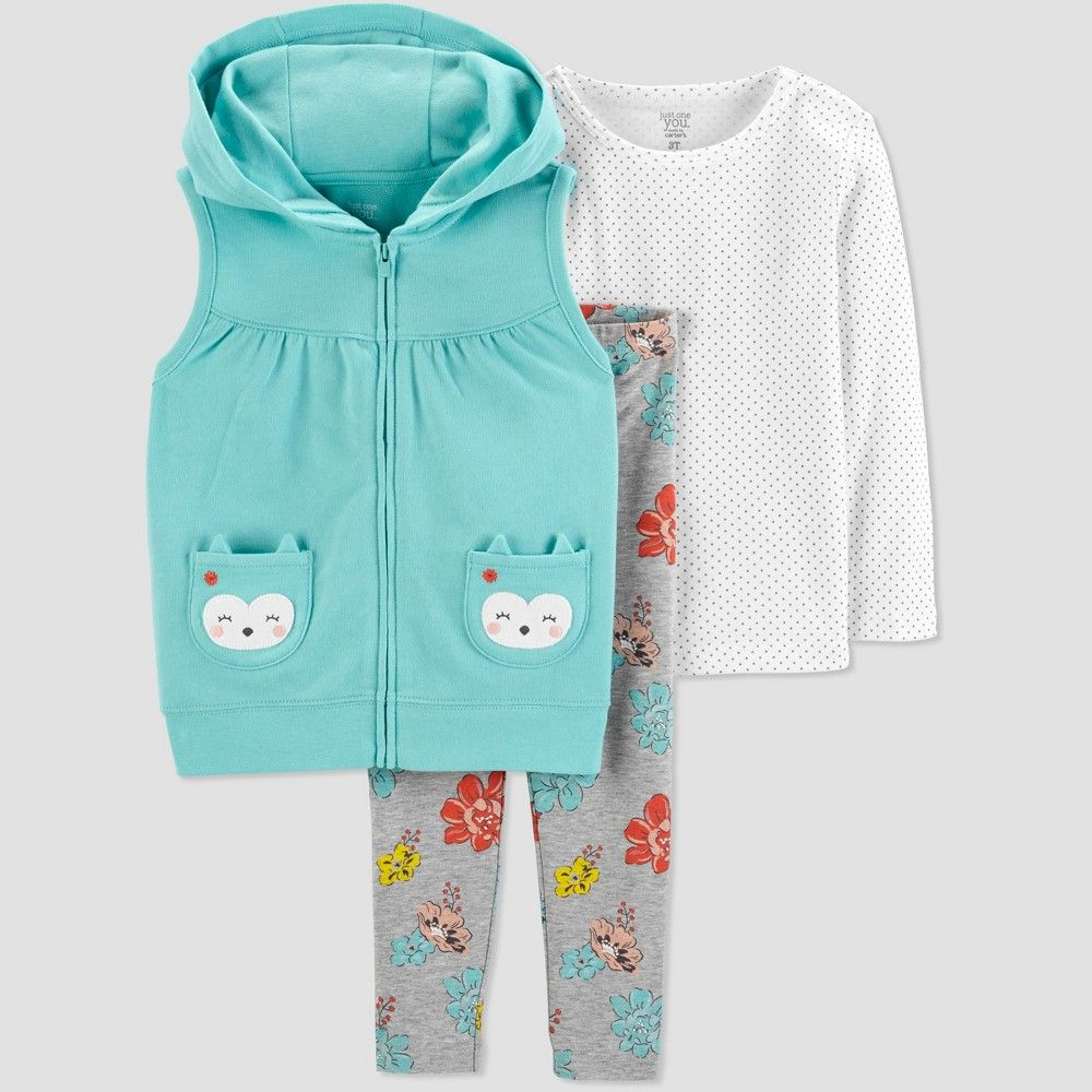 a05bf6916 Toddler Girls  Owl 3pc Set - Just One You made by carter s Turquoise ...