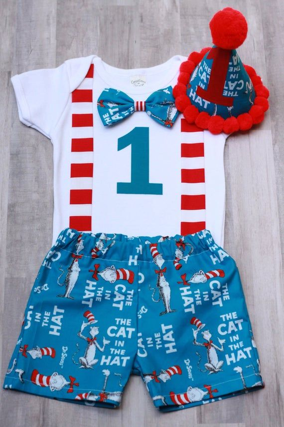1st birthday outfit cat in the hat Dr. Seuss smash cake outfit boys 1st birthday outfit *3PC OUTFIT #birthdayoutfit