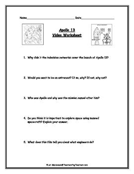 Space Exploration: Apollo 13 Video Worksheet | Survival kit ...