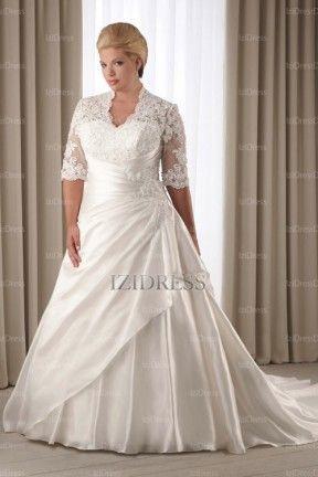 A-Line/Princess Strapless Chapel Train Taffeta wedding dress - IZIDRESSES.com at IZIDRESSES.com