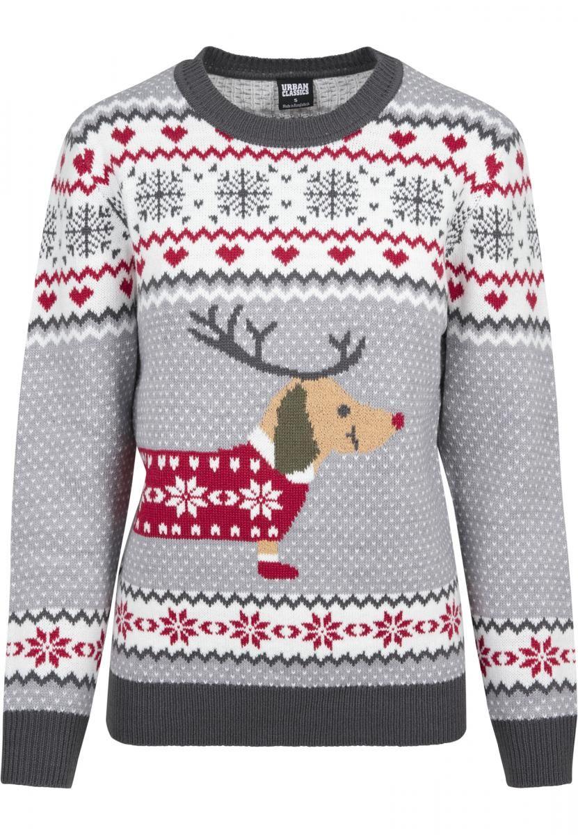 Damen Pullover Strickwaren Weihnachten Rentier Norweger