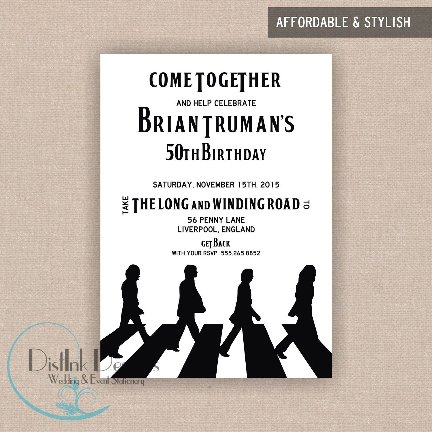 The Beatles Inspired Birthday Party Invitation Printable 5x7