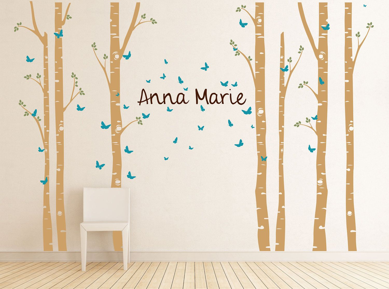 Birch Tree Decal With Butterflies And Name Large Set