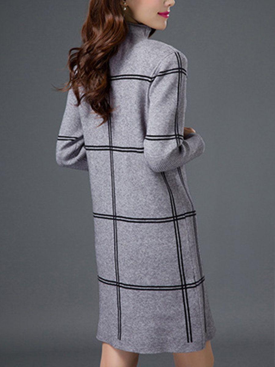 4c863c7594 Turtleneck Daily Long Sleeve Checkered Plaid Sweater Dress