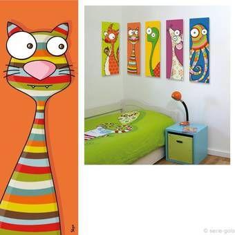 Tableau chat d co pour chambre enfant et b b tableau for Tableau chambre bebe animaux