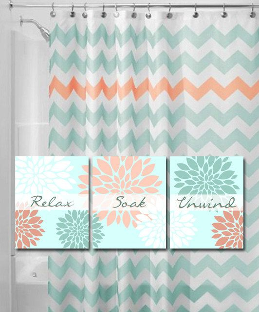 Coral And Mint Or Aqua Bathroom Aqua Bathroom Bathroom Themes