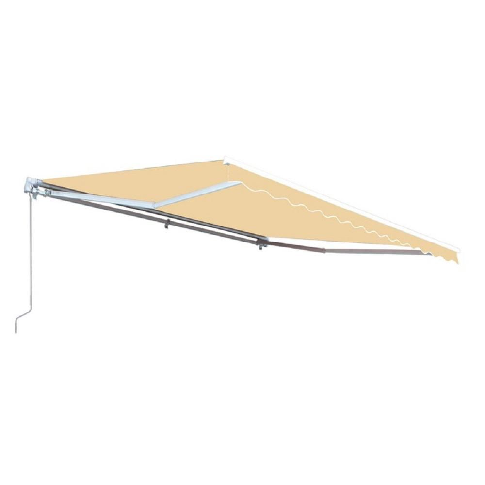 Aleko 12 Ft Manual Patio Retractable Awning 120 In Projection In Ivory Aw12x10ivory29 Hd Retractable Awning Replacement Canopy Patio Flooring