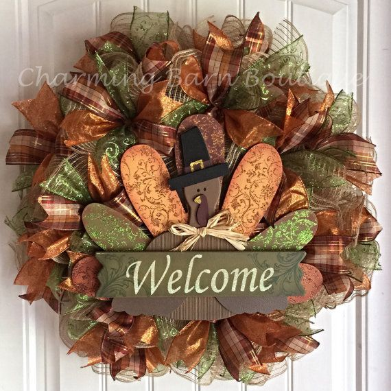 Welcome Guests With Fall Door Decorations: READY TO SHIP!!! Fall Turkey Welcome Mesh Wreath
