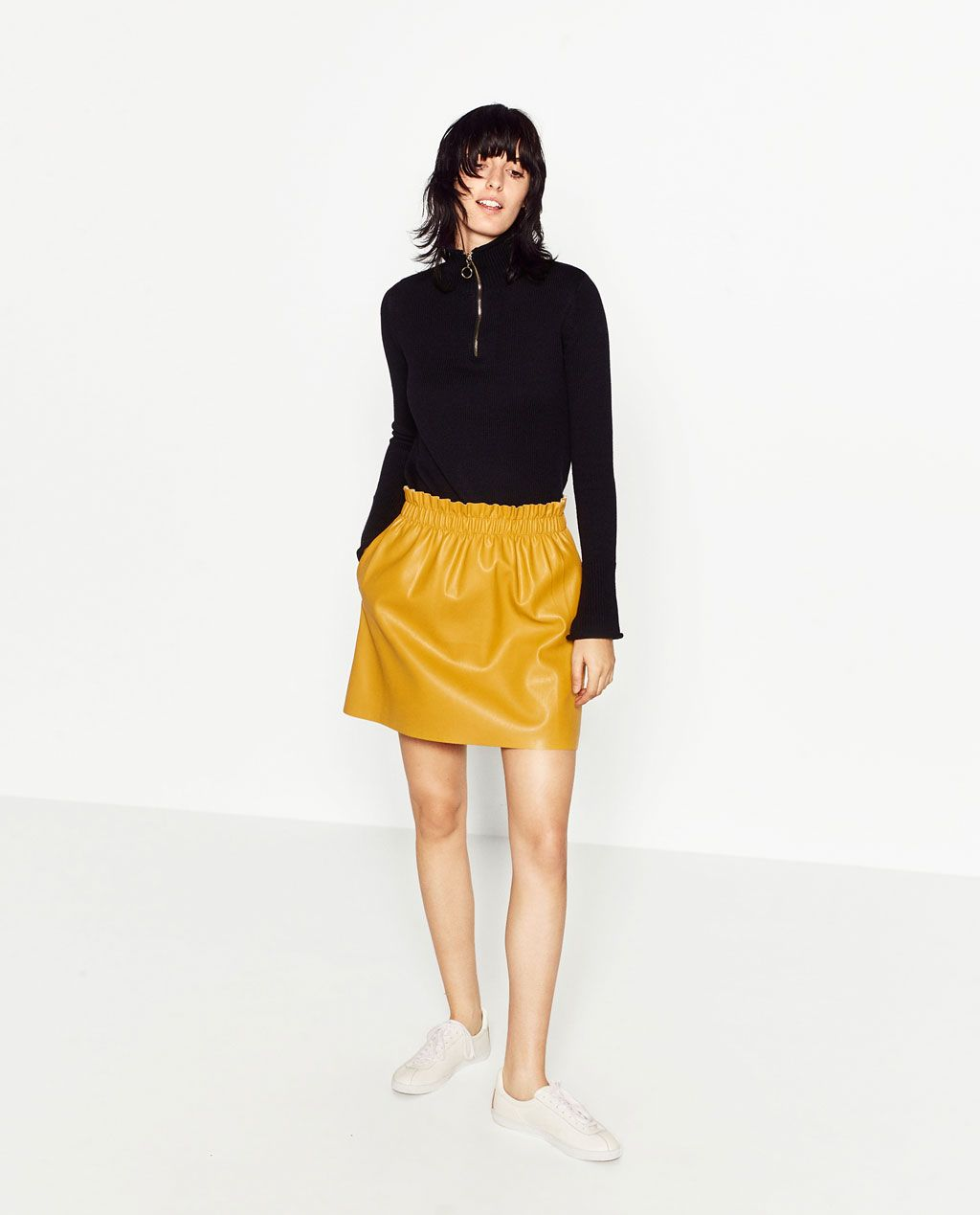 aee824777 Image 1 of FAUX LEATHER SKIRT from Zara | dove | Leather mini skirts ...