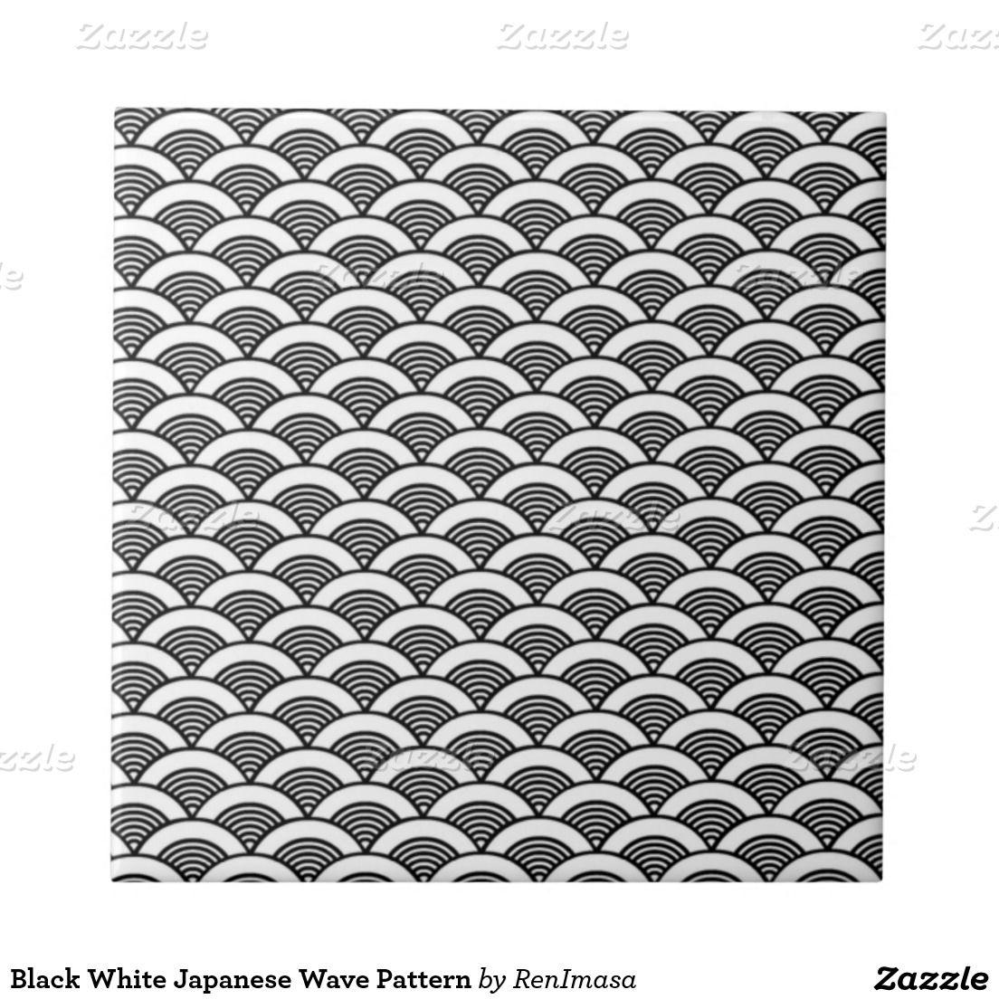black white japanese wave pattern small square tile